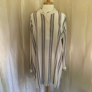 Ann Taylor White Tunic with Black Stripes-NWT